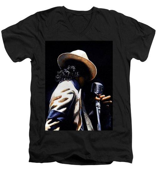 The Pop King Men's V-Neck T-Shirt by Emerico Imre Toth
