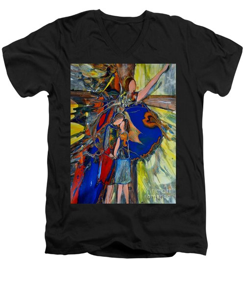 Men's V-Neck T-Shirt featuring the painting The Power Of Forgiveness by Deborah Nell