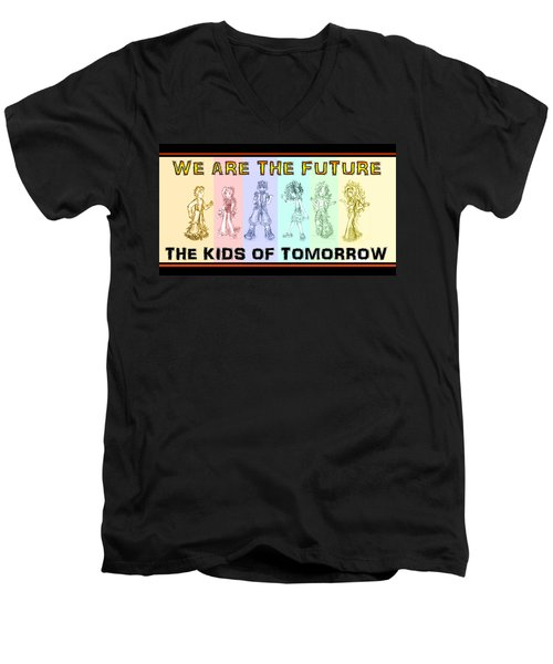 Men's V-Neck T-Shirt featuring the drawing The Proud Kids Of Tomorrow 1 by Shawn Dall