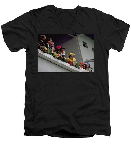 The Queen At Derby Day 1988 Men's V-Neck T-Shirt