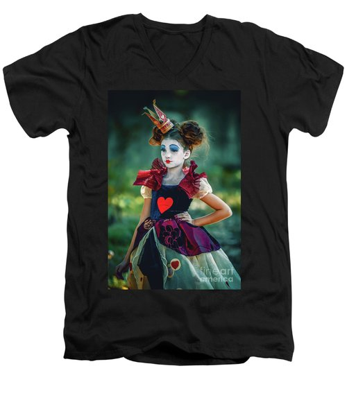 The Queen Of Hearts Alice In Wonderland Men's V-Neck T-Shirt