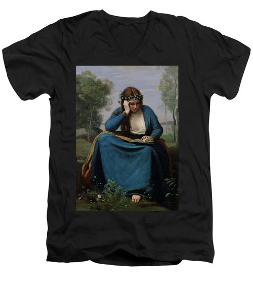 The Reader Crowned With Flowers Men's V-Neck T-Shirt by Jean Baptiste Camille Corot