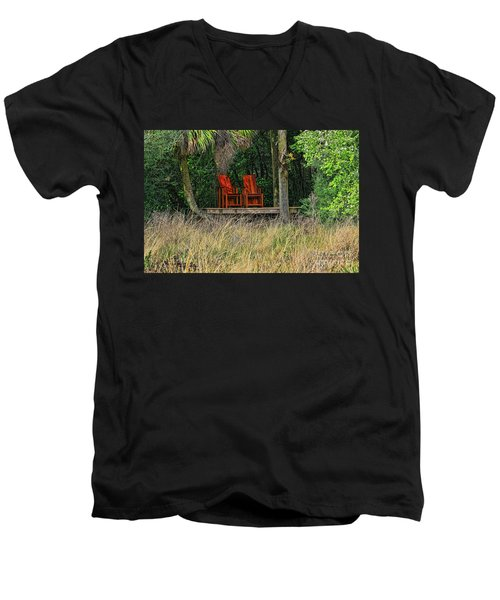 Men's V-Neck T-Shirt featuring the photograph The Red Chairs by Deborah Benoit
