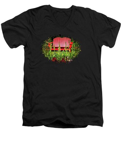 The Red Garden Bench Men's V-Neck T-Shirt by Thom Zehrfeld