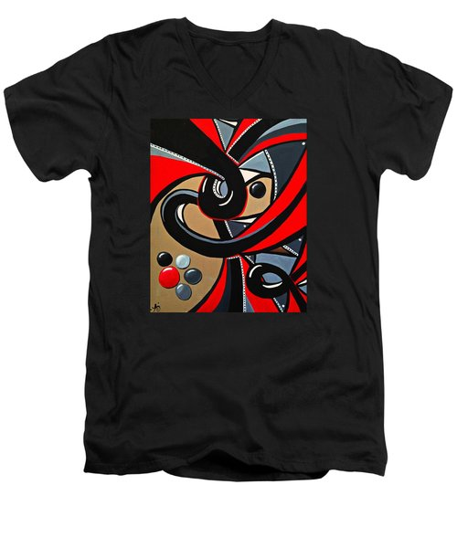 The Red Letter - Abstract Art Painting Men's V-Neck T-Shirt