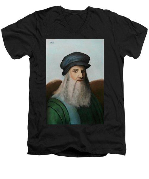 The Master Of Renaissance - Leonardo Da Vinci  Men's V-Neck T-Shirt