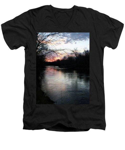 The River At Sunset Men's V-Neck T-Shirt
