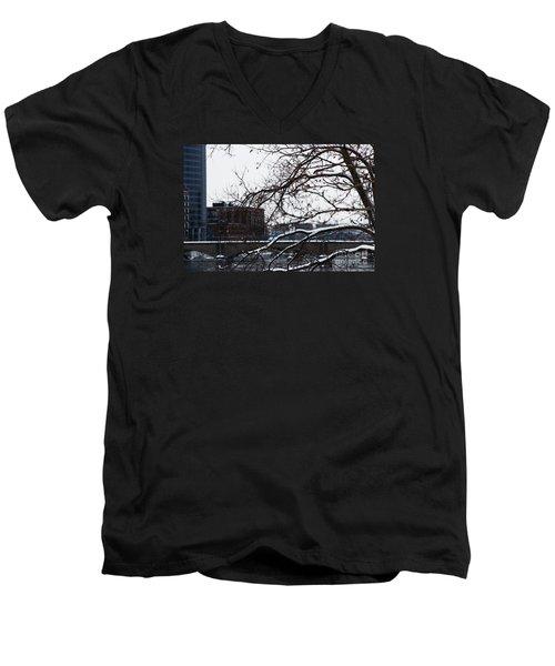 The River Divide Men's V-Neck T-Shirt by Linda Shafer