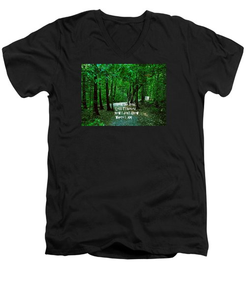 The Road Less Traveled Men's V-Neck T-Shirt by Gary Wonning