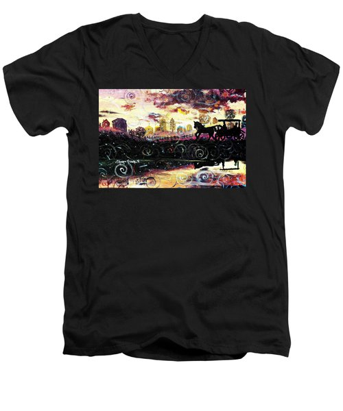 Men's V-Neck T-Shirt featuring the painting The Road To Home by Shana Rowe Jackson