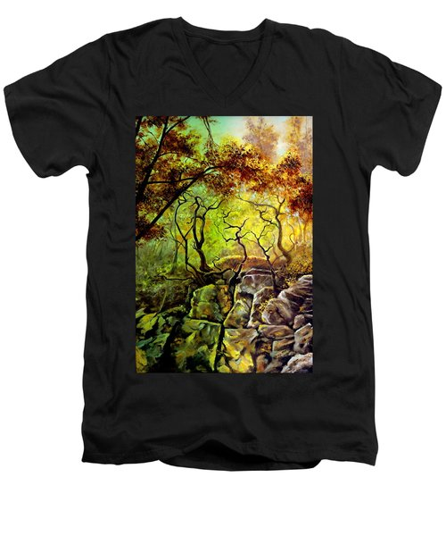 Men's V-Neck T-Shirt featuring the painting The Rocks In Starachowice by Henryk Gorecki