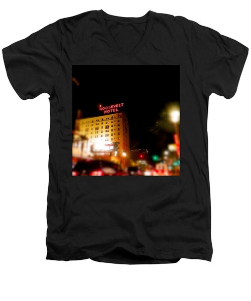 The Roosevelt Hotel By David Pucciarelli  Men's V-Neck T-Shirt by Iconic Images Art Gallery David Pucciarelli