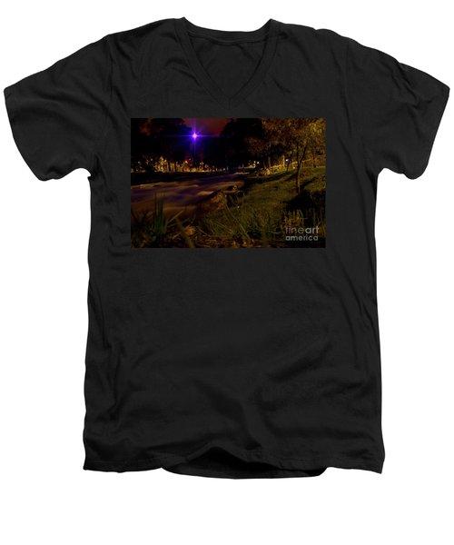 Men's V-Neck T-Shirt featuring the photograph The Rushing Rio Tomebamba IIi by Al Bourassa