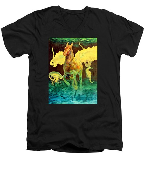 Men's V-Neck T-Shirt featuring the painting The Seahorse by Henryk Gorecki