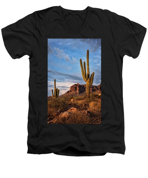 Men's V-Neck T-Shirt featuring the photograph The Sentinels Of The Supes In Color  by Saija Lehtonen