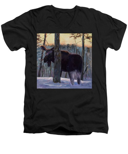 Men's V-Neck T-Shirt featuring the painting The Shy One by Billie Colson