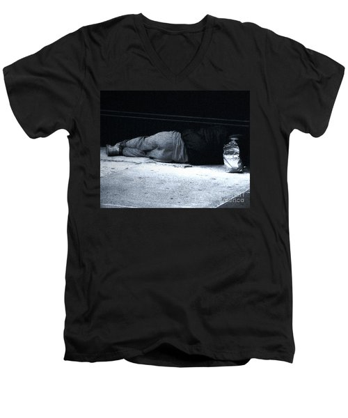 Men's V-Neck T-Shirt featuring the photograph The Sidewalks Of New York by RC deWinter