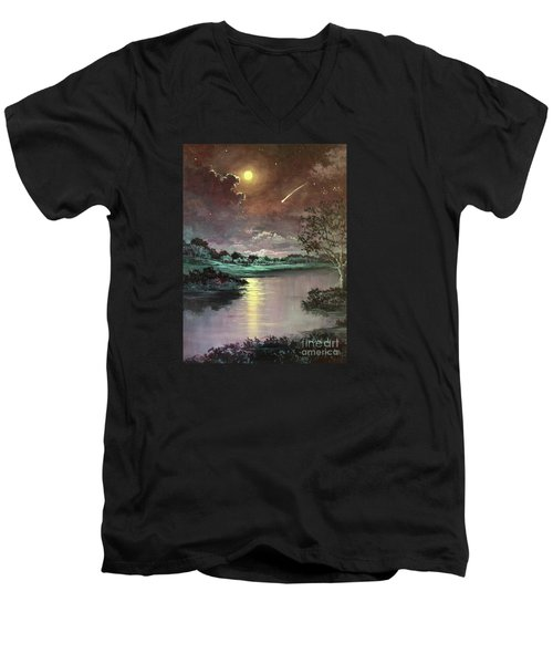 The Silence Of A Falling Star Men's V-Neck T-Shirt