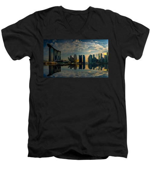 The Singapore Skyline Men's V-Neck T-Shirt
