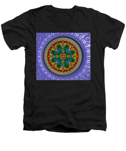 Men's V-Neck T-Shirt featuring the digital art The Singularity by Manny Lorenzo