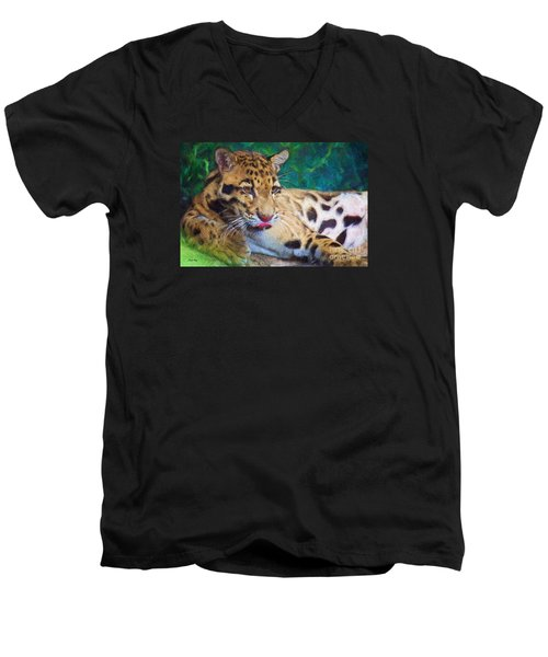 Men's V-Neck T-Shirt featuring the painting The Clouded Leopard by Judy Kay