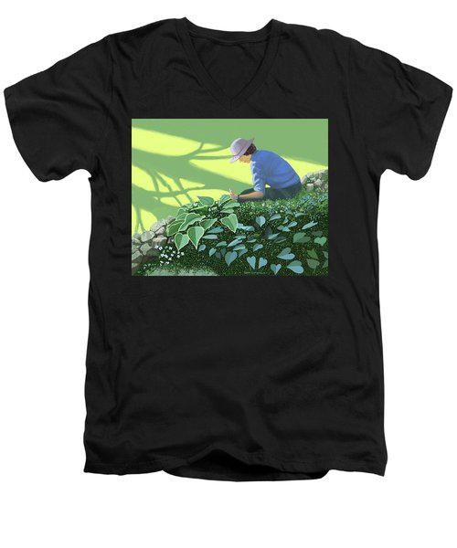 The Solace Of The Shade Garden Men's V-Neck T-Shirt by Gary Giacomelli