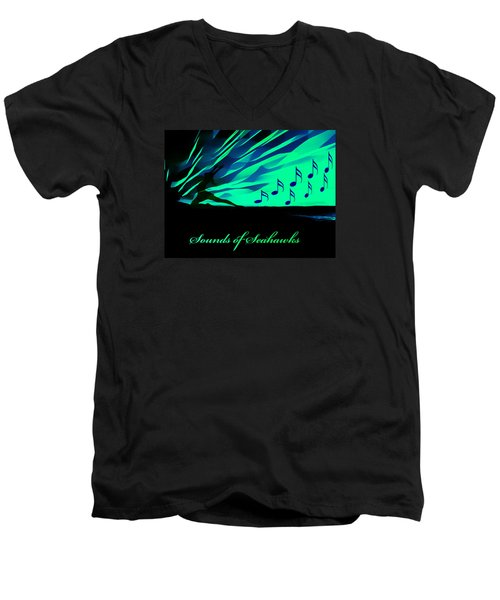 The Sounds Of Seattle Seahawks Men's V-Neck T-Shirt by Eddie Eastwood