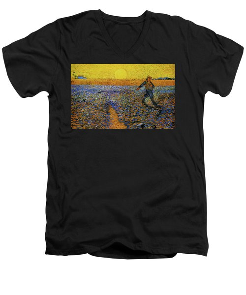 Men's V-Neck T-Shirt featuring the painting The Sower by Van Gogh