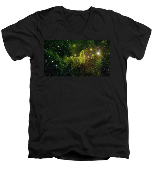 Men's V-Neck T-Shirt featuring the photograph The Spider And The Fly Nebula by NASA JPL - Caltech