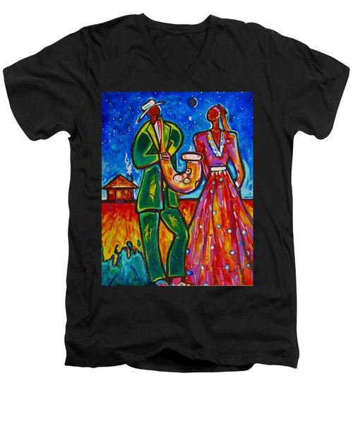 Men's V-Neck T-Shirt featuring the painting The Spirt Of Memphis by Emery Franklin