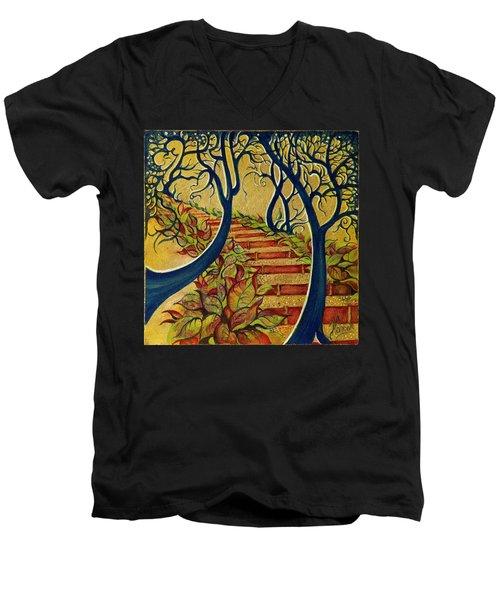 The Stairs To Now Men's V-Neck T-Shirt by Anna Ewa Miarczynska