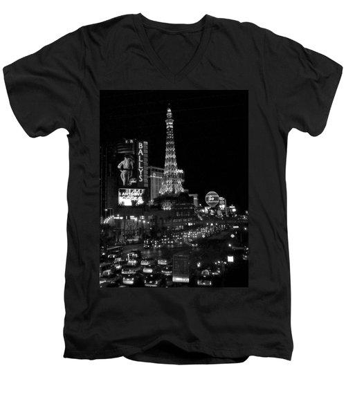 The Strip By Night B-w Men's V-Neck T-Shirt