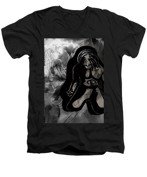 Men's V-Neck T-Shirt featuring the drawing The Struggle Within by Sheila Mcdonald