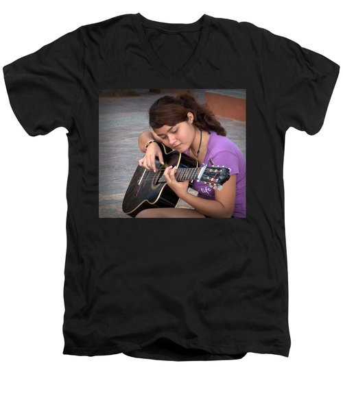 Men's V-Neck T-Shirt featuring the photograph The Student by Jim Walls PhotoArtist