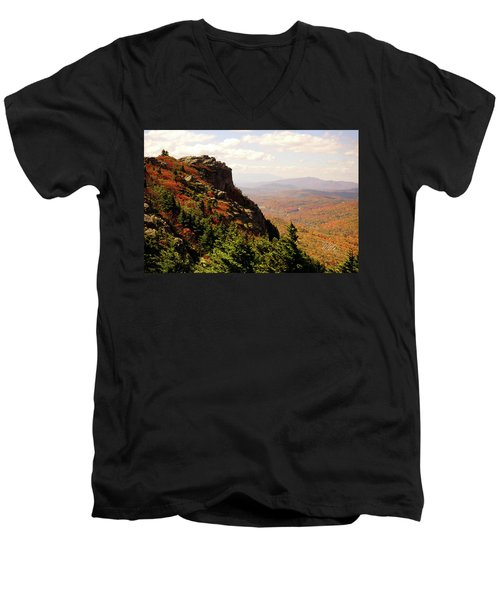 Men's V-Neck T-Shirt featuring the photograph The Summit In Fall by Meta Gatschenberger