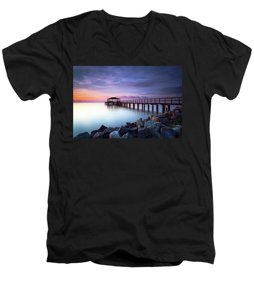 The Sun Watcher Men's V-Neck T-Shirt by Edward Kreis