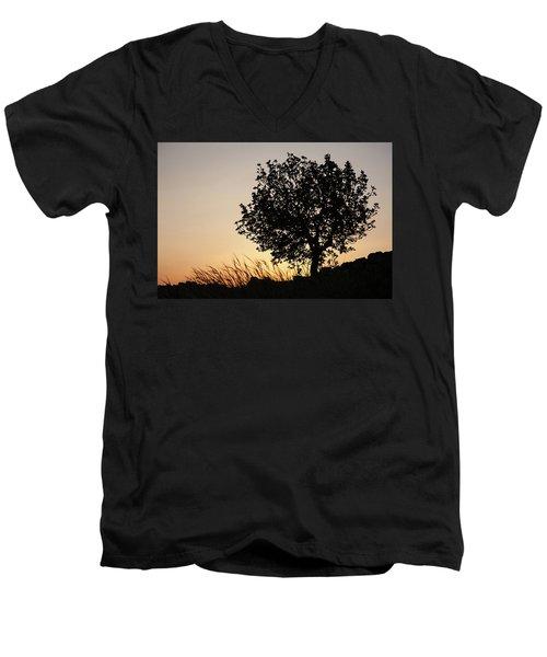 Sunset On The Hill Men's V-Neck T-Shirt by Yoel Koskas
