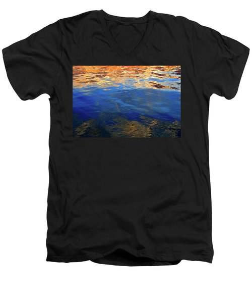 The Surface Is A Reflection  Men's V-Neck T-Shirt by Lyle Crump