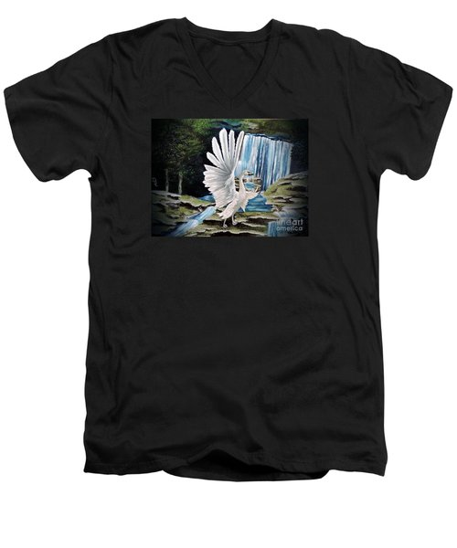Men's V-Neck T-Shirt featuring the painting The Swan by Dianna Lewis