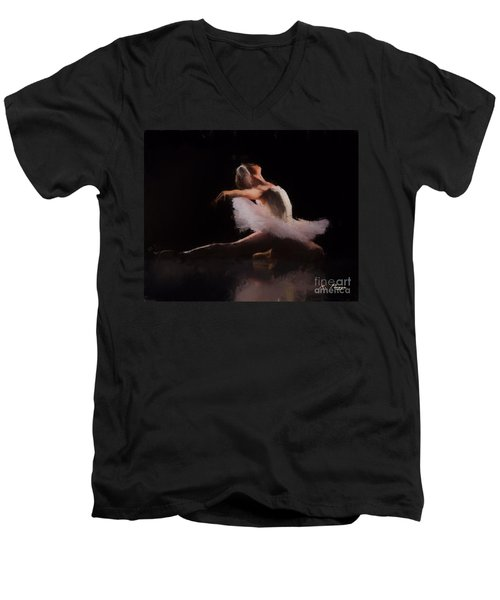 Men's V-Neck T-Shirt featuring the painting The Swan  by Rosario Piazza