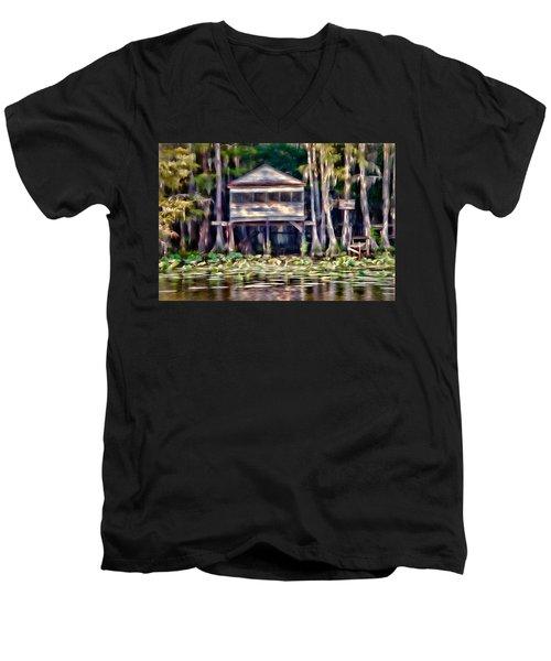 The Tea Room Men's V-Neck T-Shirt by Lana Trussell