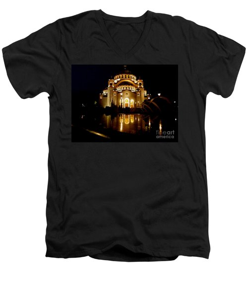 The Temple Of Saint Sava In Belgrade  Men's V-Neck T-Shirt by Danica Radman