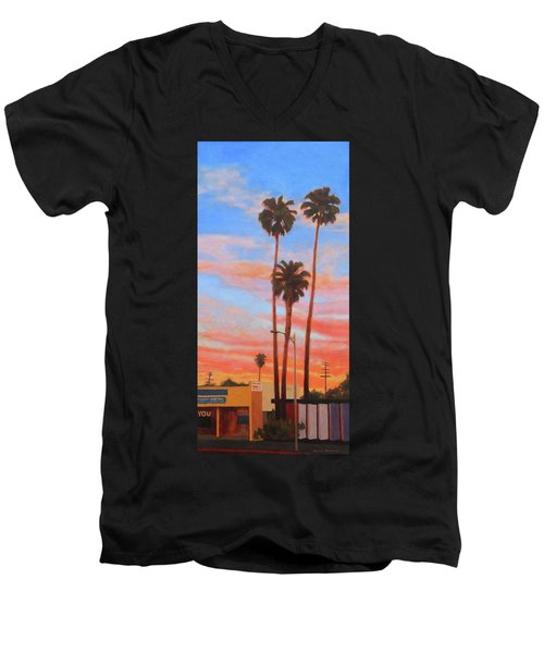 Men's V-Neck T-Shirt featuring the painting The Three Palms by Andrew Danielsen