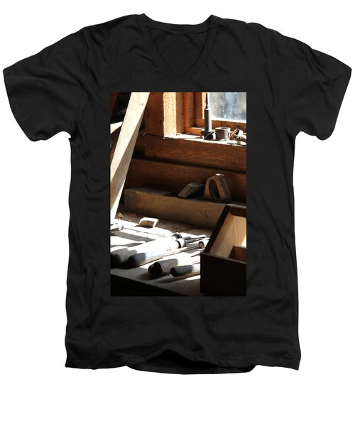 Men's V-Neck T-Shirt featuring the photograph The Tools by Laddie Halupa
