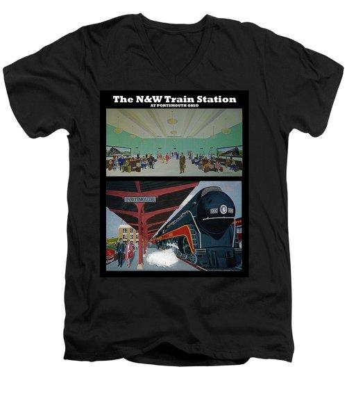 The Train Station At Portsmouth Ohio Men's V-Neck T-Shirt by Frank Hunter