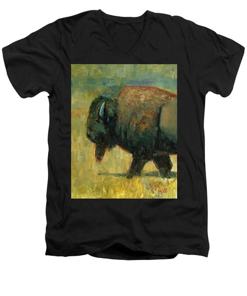 Men's V-Neck T-Shirt featuring the painting The Traveler by Billie Colson