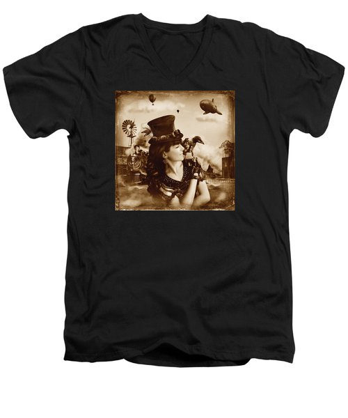 The Traveler Vintage Sepia Version Men's V-Neck T-Shirt by Alessandro Della Pietra