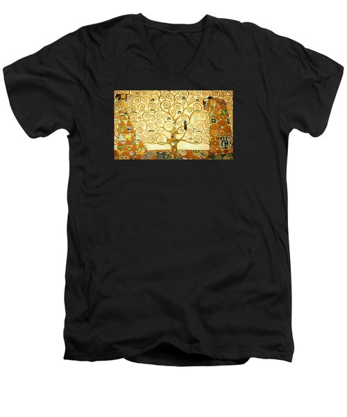 The Tree Of Life Men's V-Neck T-Shirt by Gustav Klimt