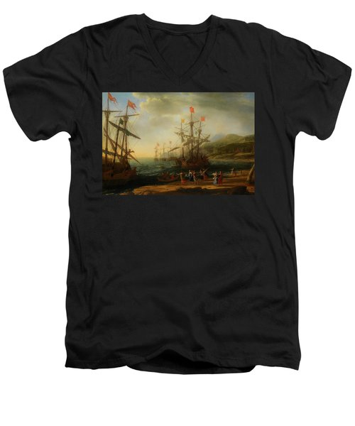 Men's V-Neck T-Shirt featuring the painting The Trojan Women Setting Fire To The Fleet by Claude Lorrain