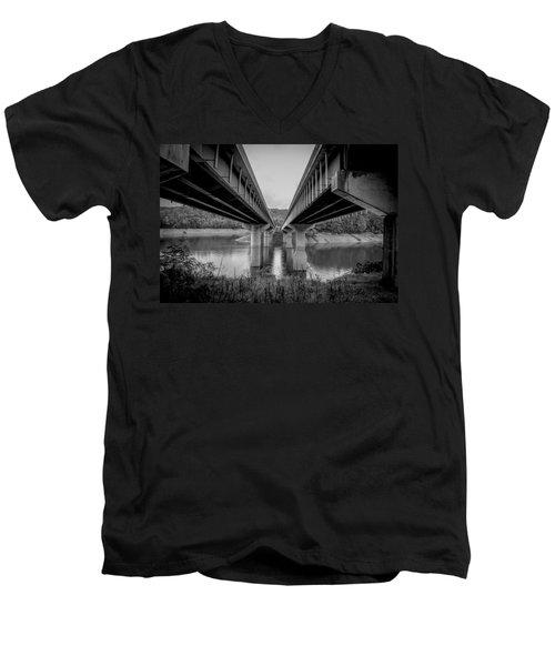The Underside Of Two Bridges Symmetry In Black And White Men's V-Neck T-Shirt
